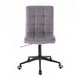 Kosmetická židle 1015K na černé podstavě s kolečky - šedá