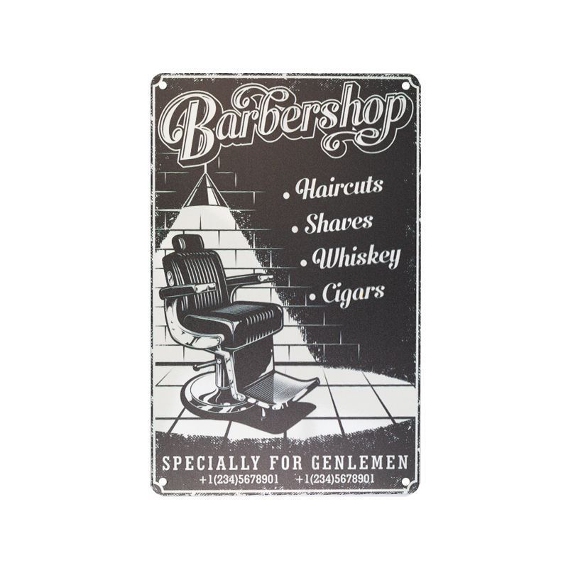 Plechová retro cedule Barbershop B053