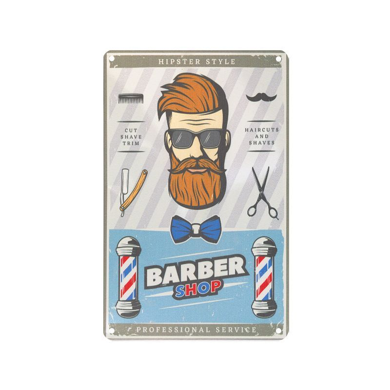 Plechová retro cedule Barber shop B057