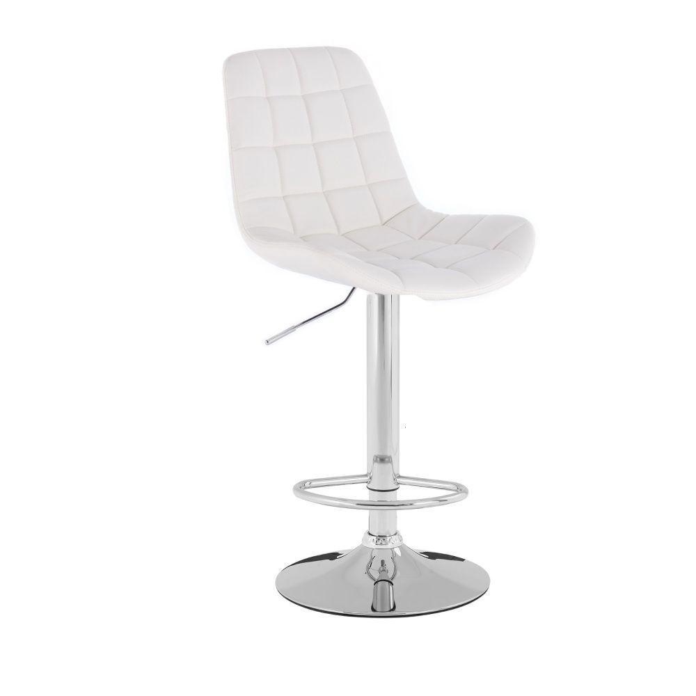 Barová židle PARIS na stříbrném talíři - bílá