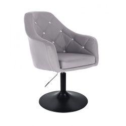 Kosmetická židle ROMA na černé kulaté podstavě - šedá
