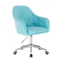 Kosmetická židle ROMA na stříbrné podstavě s kolečky - tyrkysová