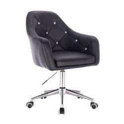 Kosmetická židle ROMA na stříbrné podstavě s kolečky - černá