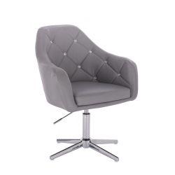 Kosmetická židle ROMA na stříbrném kříži - šedá