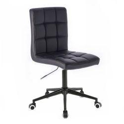 Kosmetická židle TOLEDO na černé podstavě s kolečky -  černá