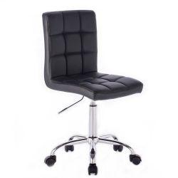 Kosmetická židle TOLEDO na stříbrné podstavě s kolečky - černá