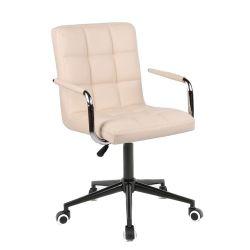 Kosmetická židle VERONA na černé podstavě s kolečky - krémová