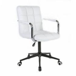 Kosmetická židle VERONA na černé  podstavě s kolečky - bílá