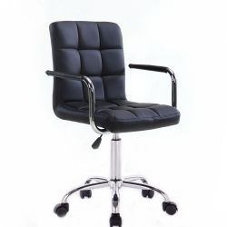 Kosmetická židle VERONA na stříbrné podstavě s kolečky - černá