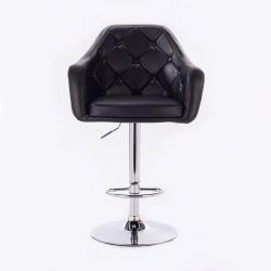 Barová židle ANDORA na kulaté chromové základně - černá