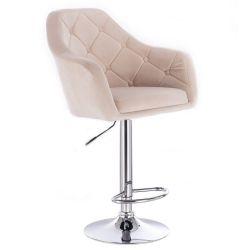 Barová židle ANDORA VELUR na stříbrné kulaté podstavě - krémová