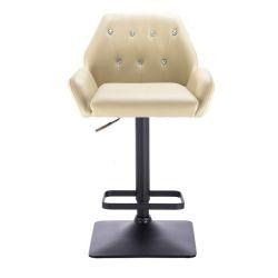 Barová židle LION na černé základně - krémová
