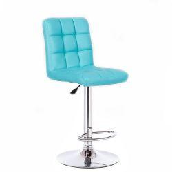 Barová židle TOLEDO na stříbrné kulaté podstavě - tyrkysová