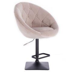 Barová židle VERA VELUR na černé podstavě - béžová