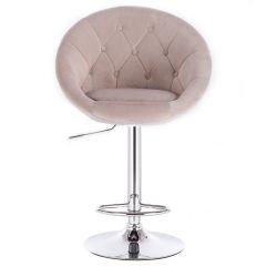 Barová židle VERA VELUR na stříbrné kulaté podstavě - béžová