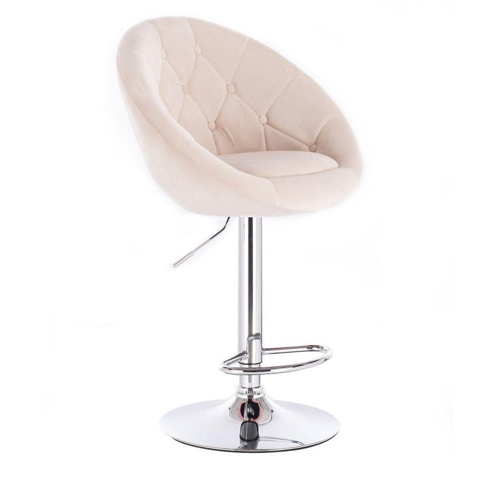 Barová židle VERA VELUR na stříbrné kulaté podstavě - krémová