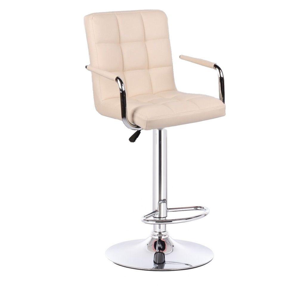Barová židle VERONA na stříbrné kulaté podstavě - krémová