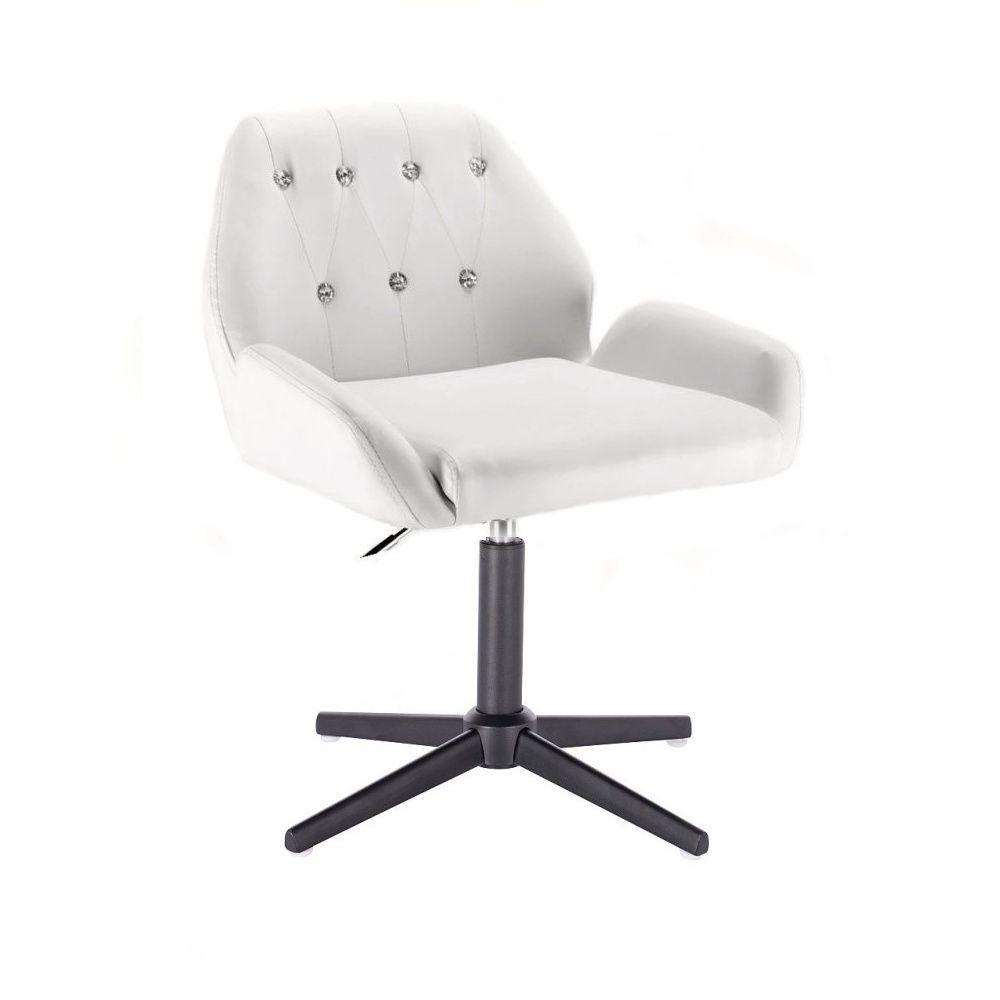 Kosmetická židle LION na černém kříži - bílá
