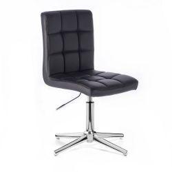 Kosmetická židle TOLEDO na stříbrném kříži - černá