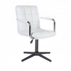 Kosmetická židle VERONA na černém kříži - bílá