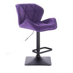 Barová židle MILANO VELUR na černé podstavě - fialová