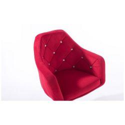 Barová židle ROMA VELUR na kulaté stříbrné podstavě - červená