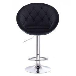 Barová židle VERA VELUR na kulaté stříbrné podstavě - černá
