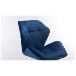 Barová židle MILANO MAX VELUR na černé podstavě - modrá