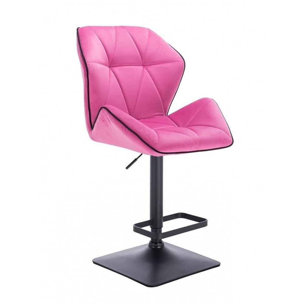 Barová židle MILANO MAX VELUR na černé podstavě - růžová