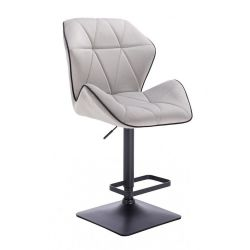Barová židle MILANO MAX VELUR na černé podstavě - šedá