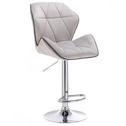 Barová židle MILANO MAX VELUR na stříbrném talíři - šedá