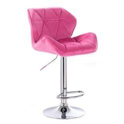Barová židle MILANO VELUR na kulaté stříbrné podstavě - růžová