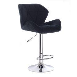 Barová židle MILANO VELUR na kulaté stříbrné podstavě - černá