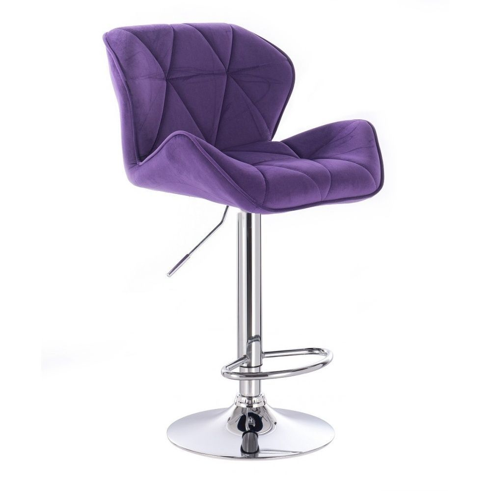 Barová židle MILANO VELUR na kulaté stříbrné podstavě - fialová