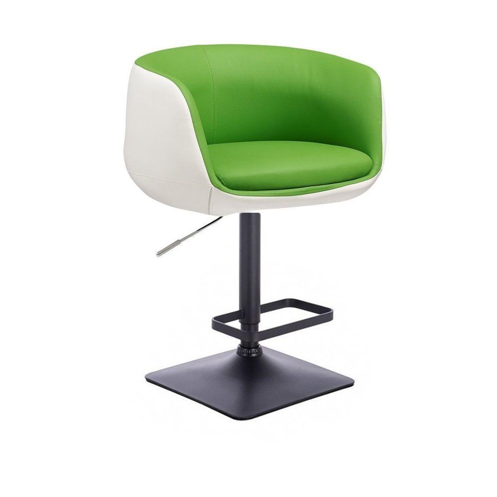 Barová židle MONTANA na černé podstavě - bílo-zelená