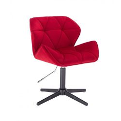 Kosmetická židle MILANO VELUR na černém kříži - červená