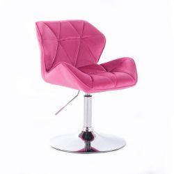 Kosmetická židle MILANO VELUR na stříbrném talíři - růžová