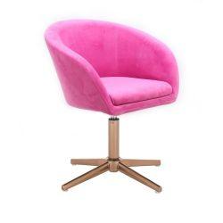 Kosmetická židle VENICE VELUR na zlatém kříži - růžová