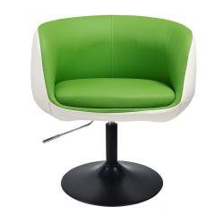 Kosmetické křeslo MONTANA na černém talíři - zelenobílé