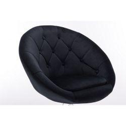Kosmetické křeslo VERA VELUR na černé podstavě s kolečky - černá