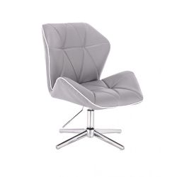 Kosmetická židle MILANO MAX na stříbrném kříži - šedá