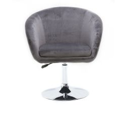Kosmetická židle VENICE VELUR na stříbrném talíři - světle šedá