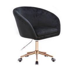 Kosmetická židle VENICE VELUR na zlaté podstavě s kolečky - černá