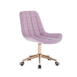 Kosmetická židle PARIS na zlaté podstavě s kolečky - fialový vřes