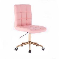 Kosmetická židle TOLEDO na zlaté podstavě s kolečky - růžová