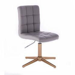 Kosmetická židle TOLEDO na zlatém kříži - šedá