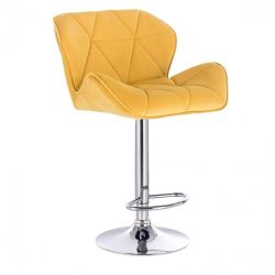 Barová židle MILANO VELUR na stříbrné kulaté podstavě - žlutá