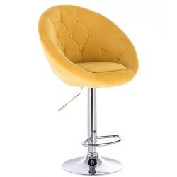 Barová židle VERA VELUR na kulaté stříbrné podstavě - žlutá