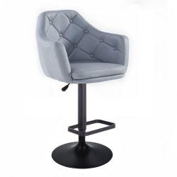 Barová židle ANDORA na černém talíři - šedá