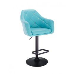 Barová židle ROMA na černém talíři - tyrkysová